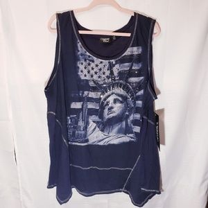 Blue tank Americanflag StatueofLiberty NewYork 3X